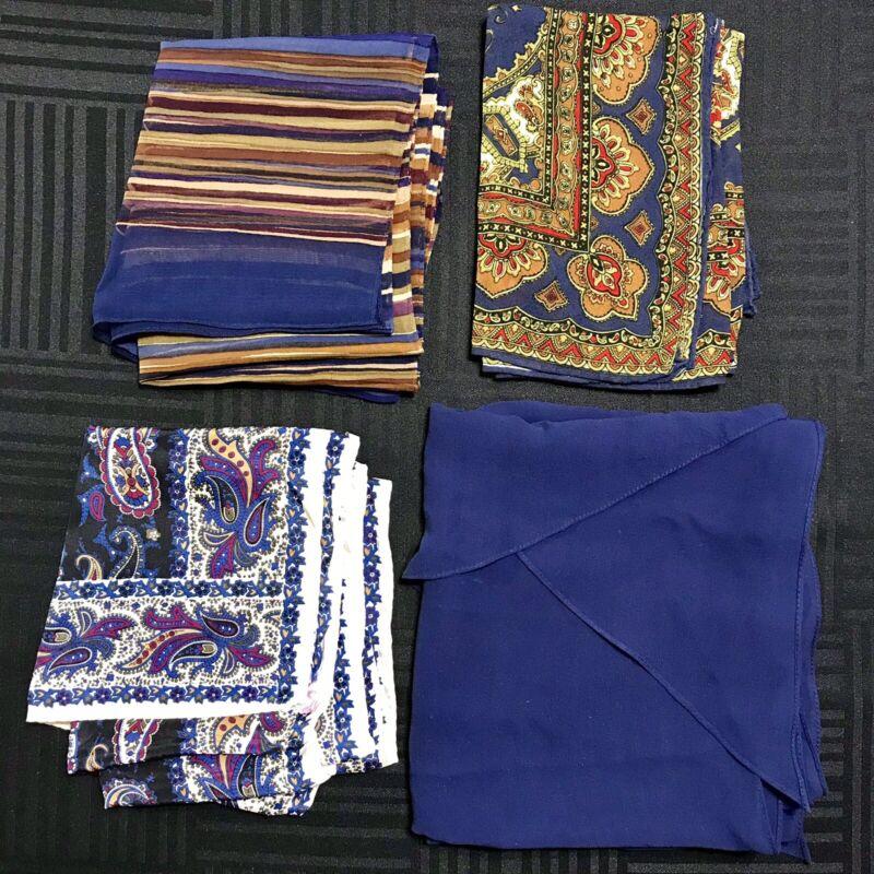 4 Scarves Oblong ALL Silk Bright Blue Navy Paisley Sheer Wingtip Vtg Scarf Lot
