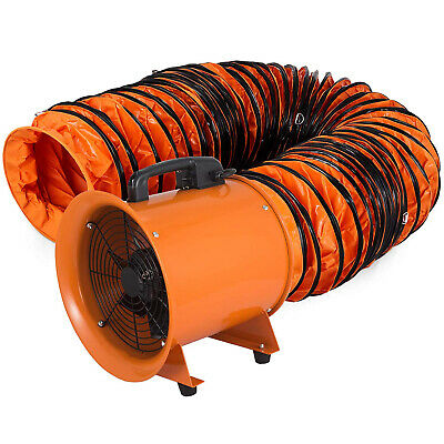 12 Extractor Fan Blower Portable 10m Duct Hose Electrical Rubber Feet Exhaust