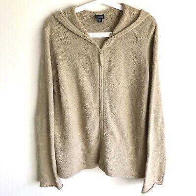 Eileen Fisher Beige Hooded Sweater Jacket Women Size L