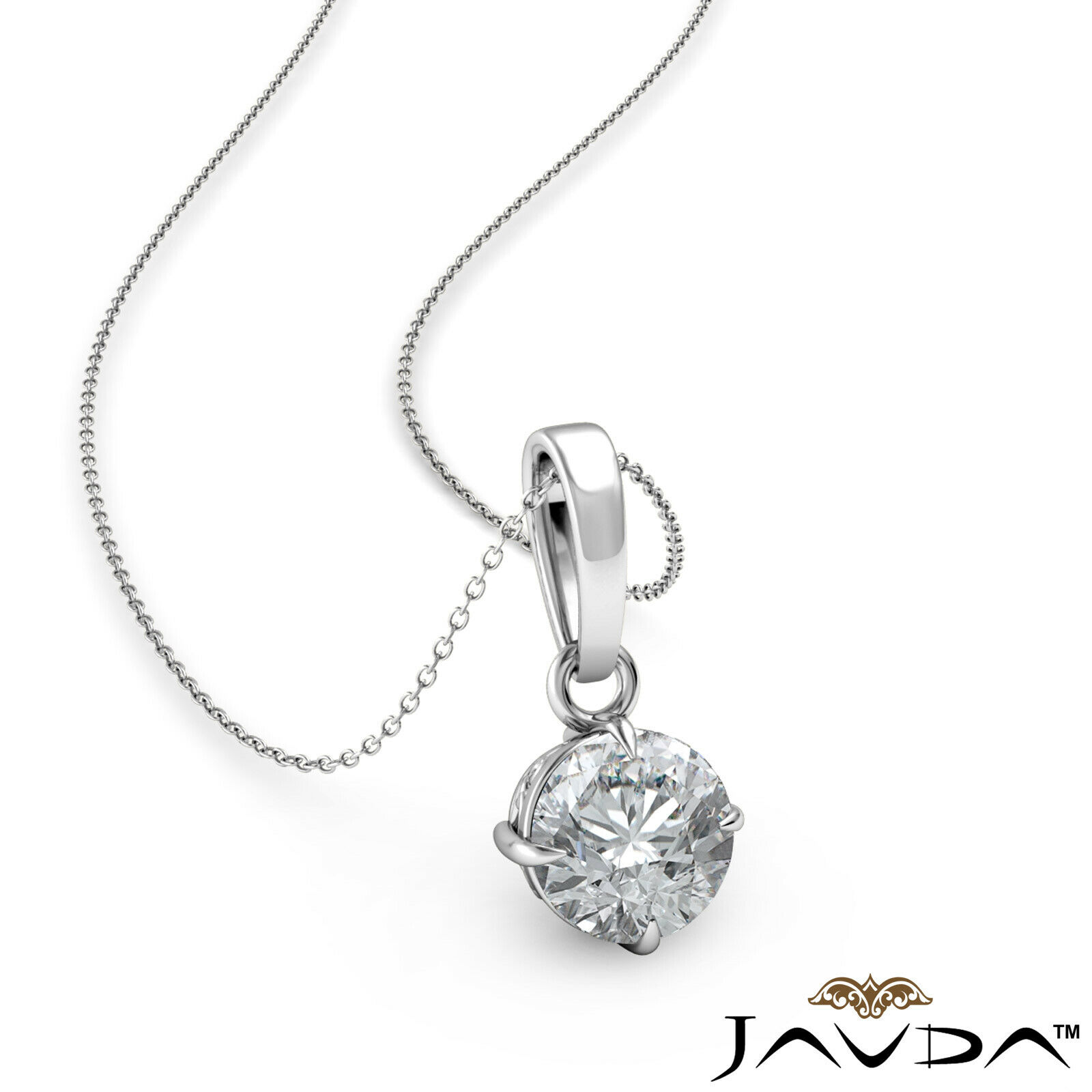 Solitaire Round Real Diamond Engagement 4 Claw Prong Pendant Necklace 0.24ctw.