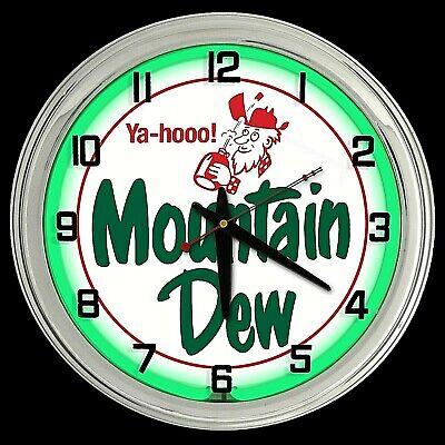 "16"" Mountain Dew Vintage Yahooo Sign Green Neon Clock Man Cave Bar Garage Mt"