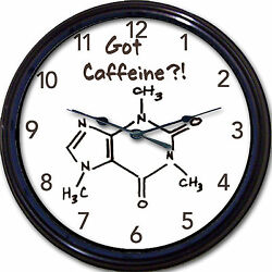 Got Caffeine?! Coffee Chemistry Wall Clock Molecule Element Cup Mug Novel 10
