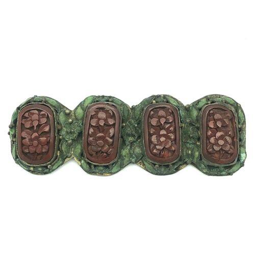 Vintage Carved Cinnabar Green Enamel Floral Brooch Chinese Export