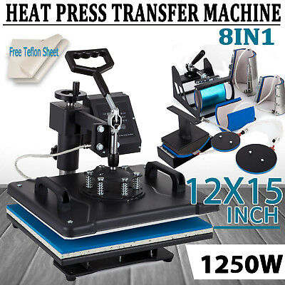 8in1 T-shirt Heat Press Machine Transfer Sublimation Digital Swing Away 15x12