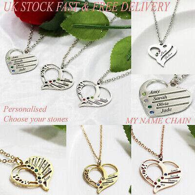Personalisierte Namen Halskette Herz Baum Scheibe Geburtsstein