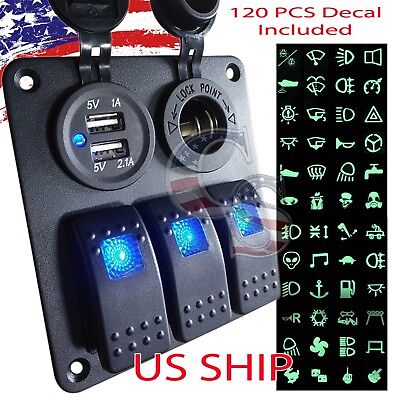 3 Gang Waterproof USB Toggle Automotive Switch Panel LED Car Marine Boat Rocker