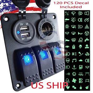 3 Gang Waterproof USB Toggle Automotive Switch Panel LED Car Marine Boat Rocker