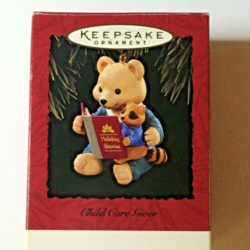 Hallmark Keepsake Ornament 1994  Child Care Giver Bear & Raccoon Reading Story