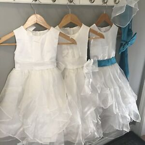 3 Precious white dresses for first communion or flower girl