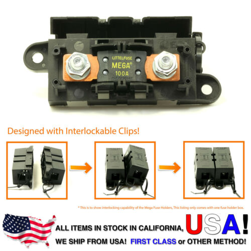 LITTLEFUSE Expandable Mega Fuse HOLDER with 100A megafuse 100 amp 32V DC Slo-Blo