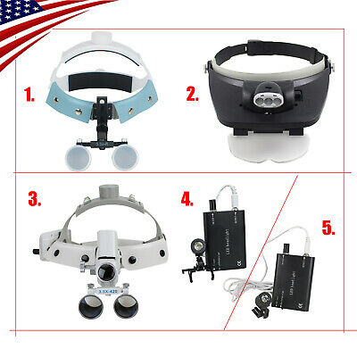Us Led Headband Dental Surgical Medical Binocular Loupes Glass Magnifier 3.5-r