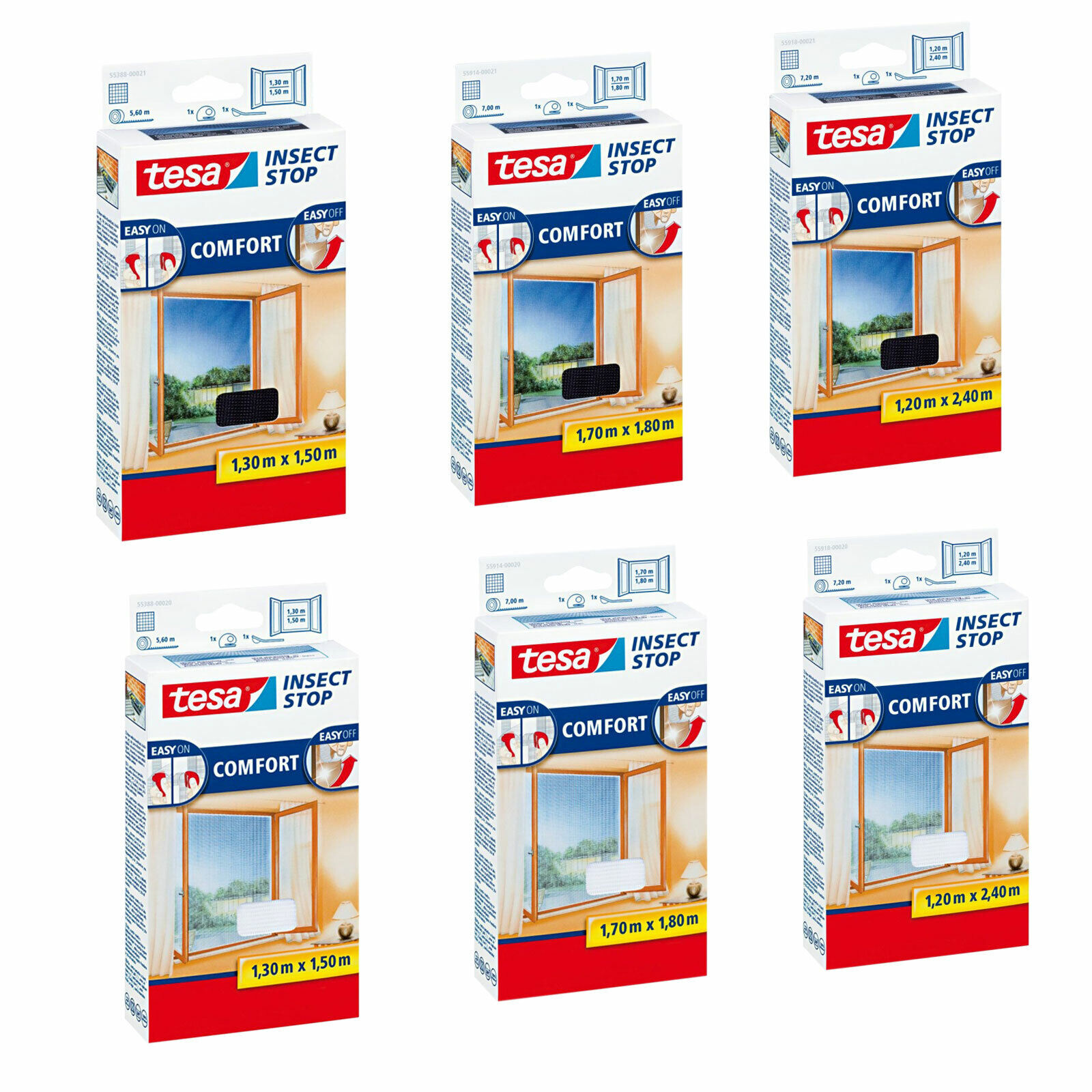 tesa® Insect Stop Fliegengitter Alu Comfort Fenster 1,2 x 1,5 m braun