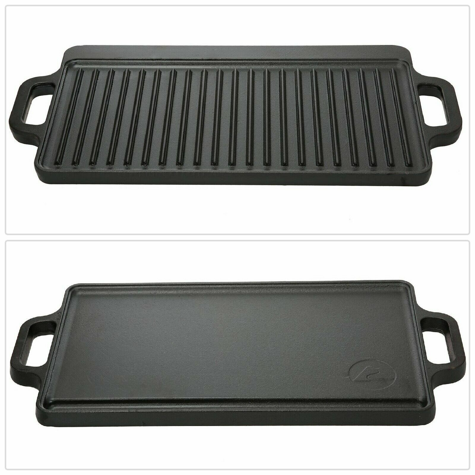 "Reversible Cast Iron Grill Griddle Pan 17"" x 9 Hamburger Ste"