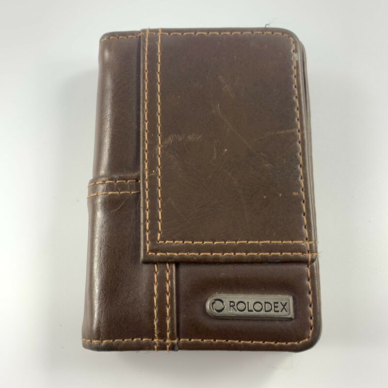 Rolodex Explorer Faux Leather Personal Brown Card Case