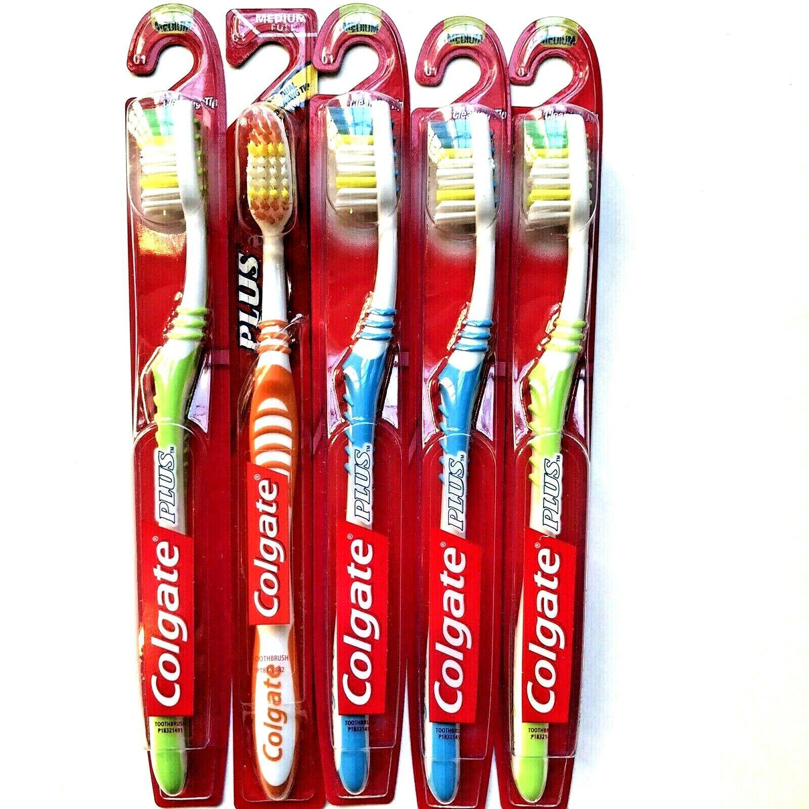 Colgate Plus Dual Cleaning Tip, Medium Full Head Toothbrush,