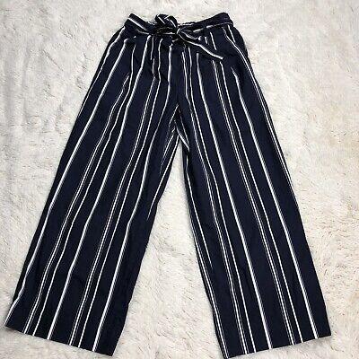 J. Crew Wide Leg Cropped Pants Blue White Striped Culotte Pants Women's SZ 0T
