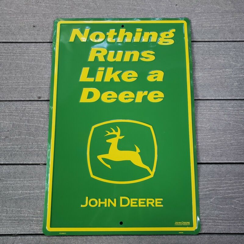 "John Deere Sign ""Quality Equipment"" Advertising Green 18"" × 12"" NEW Discontinued"