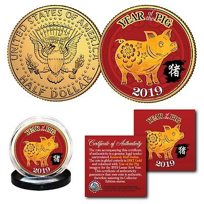 2019 Chinese New YEAR OF THE PIG 24K Gold Plated JFK Kennedy Half Dollar US Coin - Chinese New Year Coins