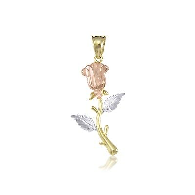 10K Solid Yellow White Rose Gold Rose Pendant -Flower Diamond Cut Necklace (Rose Gold White Gold Necklace)