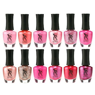 SXC Pink Nail Polish Lacquer 15ml/0.5fl  set of 12 gift for baby shower - Pink Polish
