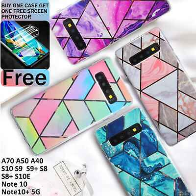 Protection For Samsung Galaxy S10 S9 S8 Marble Phone Case + Screen Protector