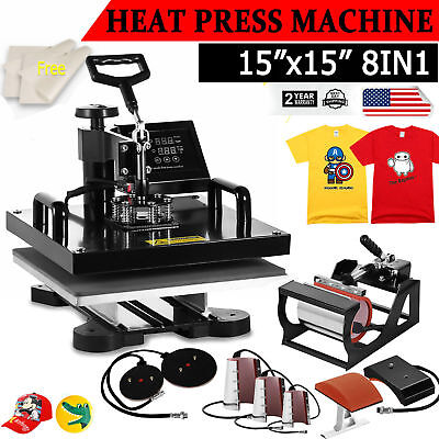 8in1 Combo T-shirt Heat Press Transfer 15x15 Mug Plate Machine Multifunctional