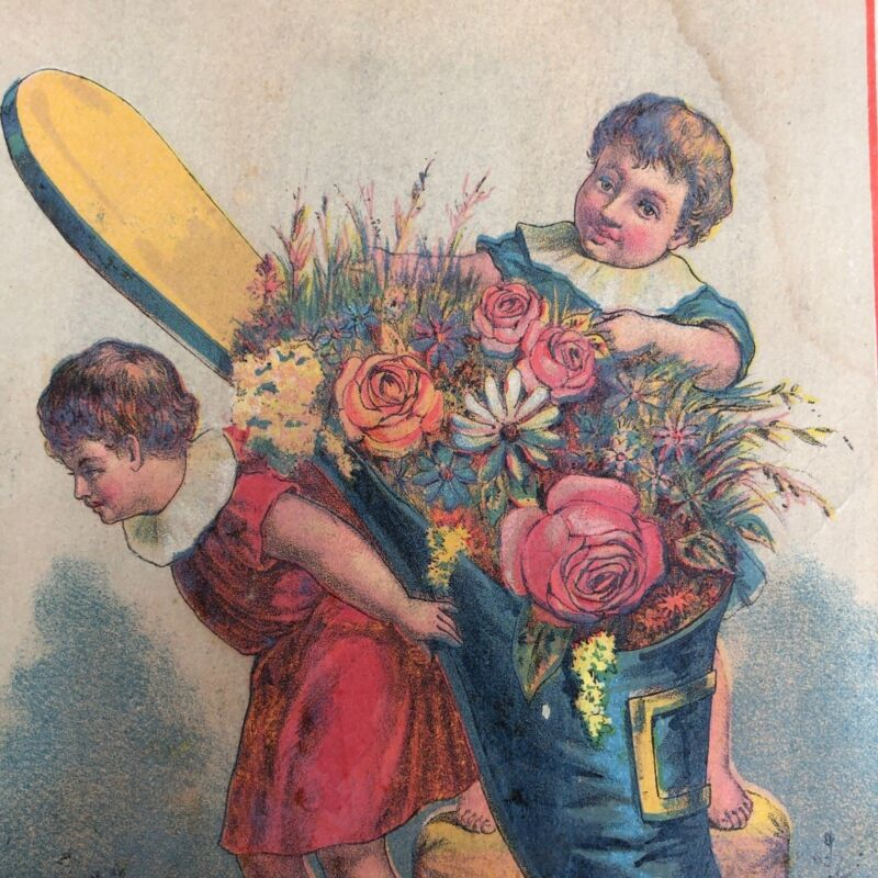 """Antique Victorian Trade Card Twin Brothers Yeast Giant Shoe Flowers Children 7"""""""
