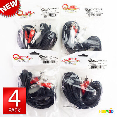 LOT of 4 NEW Dual RCA to RCA M/M Stereo Audio Speaker Phono Cable 12 FT DVD HDTV Audio Dual Rca M/m Stereo