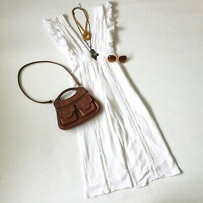 Vtg white cotton SUMMER PLAYSUIT 10 boho frill long plunge Pretty jumpsuit