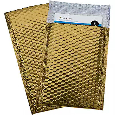 100 5 Glamor Metallic Gold Poly Bubble Mailers Envelopes Bags 10.5x16
