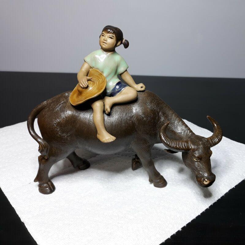 "Chinese Shiwan Pottery Girl Riding on Water Buffalo Bull Asian Figurine 6.5"""