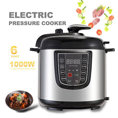 1000W 6QT Thrilling Digital Multifunction Pressure Cooker Stainless Steel