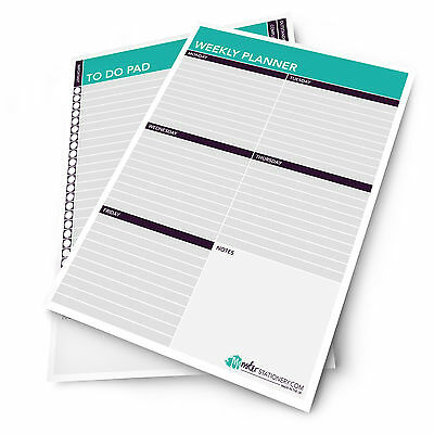 2 X Monster Schreibwaren - A4 Wöchentlich Zeitplan Planer / Tisch Polster - Made ()