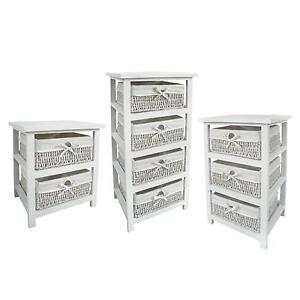 White Wicker Storage Units