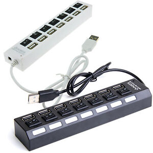 7 Port USB 2.0 Fast High Speed Powered Hub For Laptop PC ...