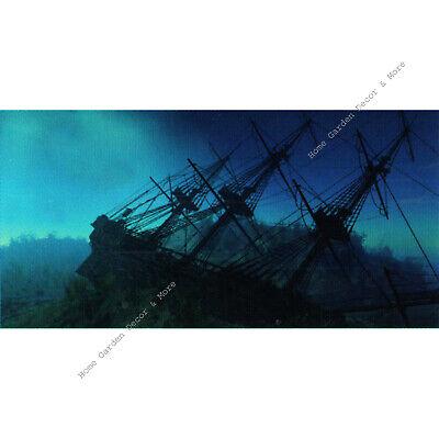 TOP FIN Blue Ocean SHIPWRECK Aquarium Background Static Cling Film -