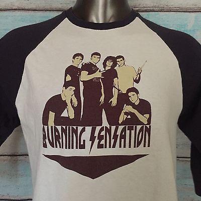1979 BURNING SENSATION Concert Tour Band Raglan T-Shirt Size LARGE Rock Vintage