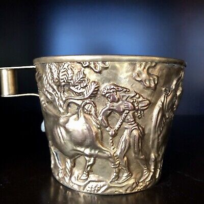 Brass Greek Cup Ancient Greek Mycenaean Artifact, Bull Hunt