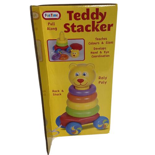 Fun Time Pull Along Teddy Stacker Preschool Development Hand Eye Coordination - $9.95