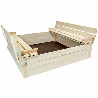 Charles Bentley Kids Children's Square Wooden Sand Pit With Seat Benches