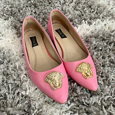 Versace Shoes Pink Patent Leather Ballet Flats Medusa Gold Detail UK 5 / 38