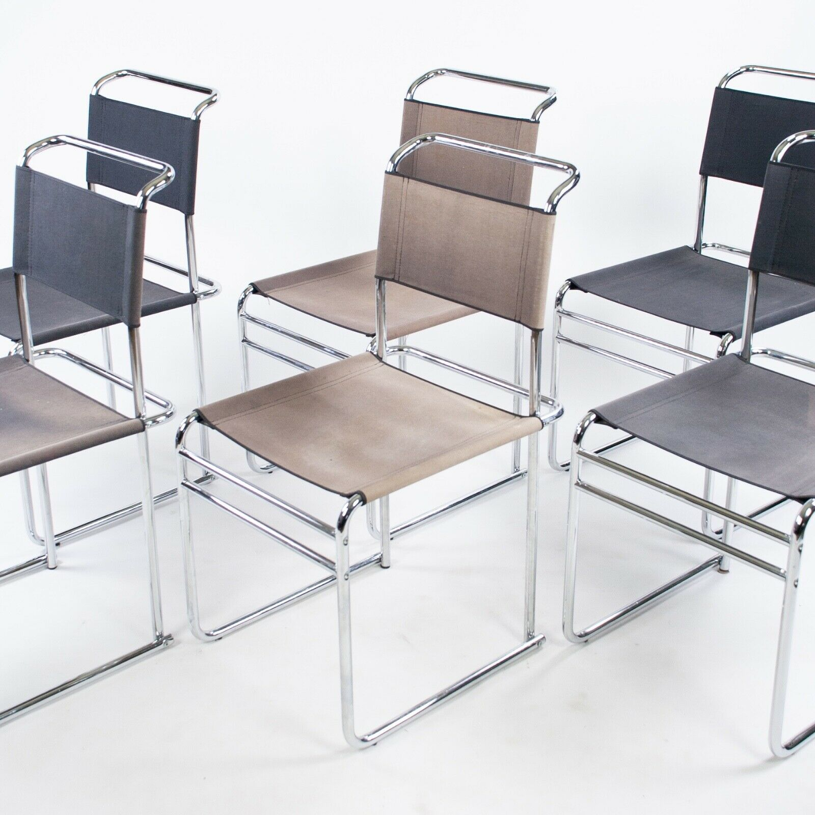 Prime Details About Set Of 6 Marcel Breuer B5 Dining Chairs Chrome Canvas Bauhaus Tecta Thonet 1960S Pdpeps Interior Chair Design Pdpepsorg