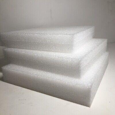 3 Sheets - 12 X 12 X 2 White Polyethylene Plank Foam 1.7pcf Pe