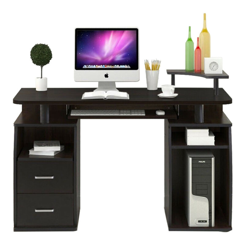 Wood Computer Desk PC Laptop Table Home Office w/Shelf &Drawer Workstation Study