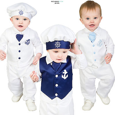 Baby Boys Christening Outfit / Christening Suit 4pc Sailor Suit White Navy (Boys Sailor Suit)
