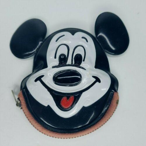 Disneyland Mickey Mouse Coin Purse Zip Close Vinyl Plastic Vintage Japan Made