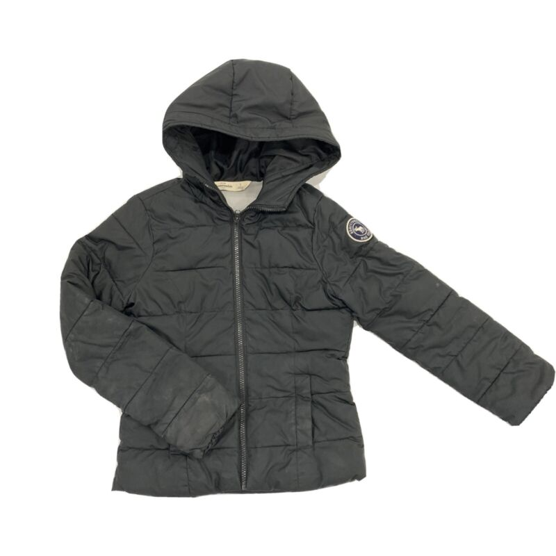 abercrombie kids girls Sz Small Black Zip Up Hoodie Puffer Fleece Lined Hood