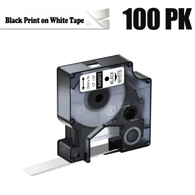 """100PK For Dymo D1 LabelPoint 100 150 200 Label Black on White Tape 45013 1/2"""""""