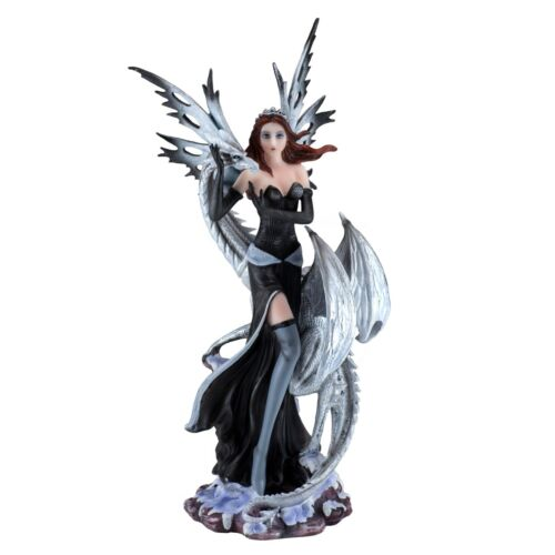 """Black Fairy With White Dragon Figurine Statue 10.5"""" High Resin New In Box!"""