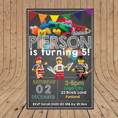 Personalised LEGO CITY Boy Kids Party Invitations Invites DIGITAL - YOU PRINT - - Party City Invitations